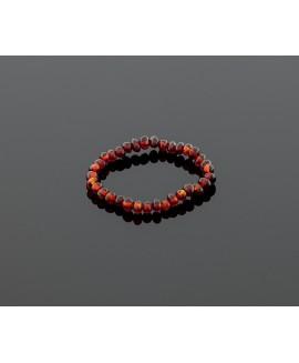 Baby amber bracelet - dark cognac baroque beads