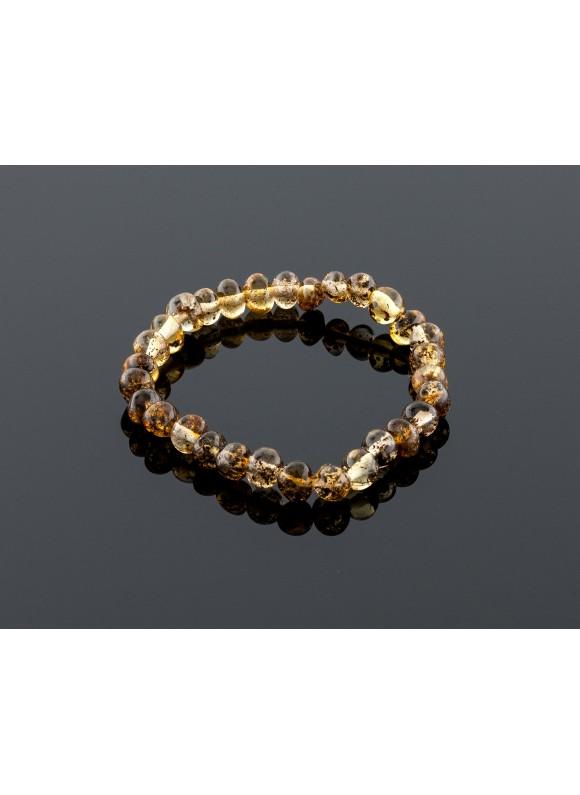 Baby amber bracelet - green baroque beads