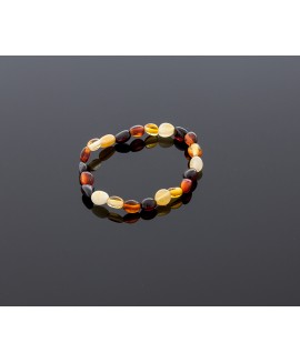 Baby amber bracelet - multicolored olives