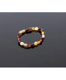 Baby amber bracelet - multicolored olives