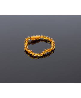 Baby amber bracelet - honey baroque beads