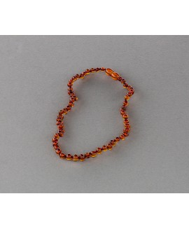 Baby amber necklace - cognac baroque beads