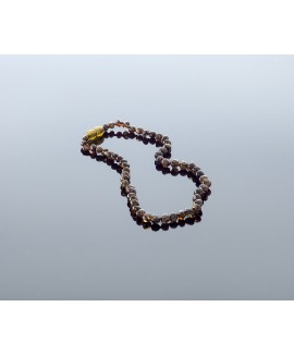 Baby amber necklace - black baroque beads