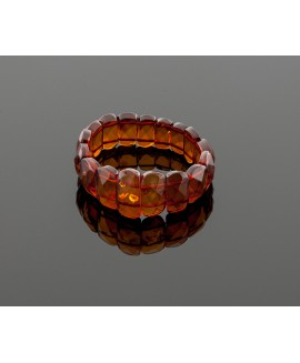 Faceted cognac amber bracelet