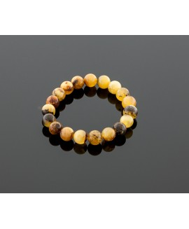Blackish yellow amber bracelet, 10mm