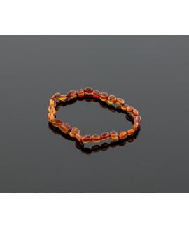 Adult amber bracelet - cognac olive beads