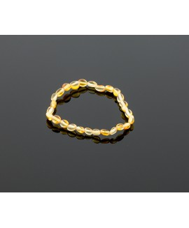 Adult amber bracelet - lemon olive beads