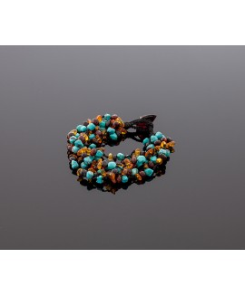 Colorful amber bracelet with turquoise
