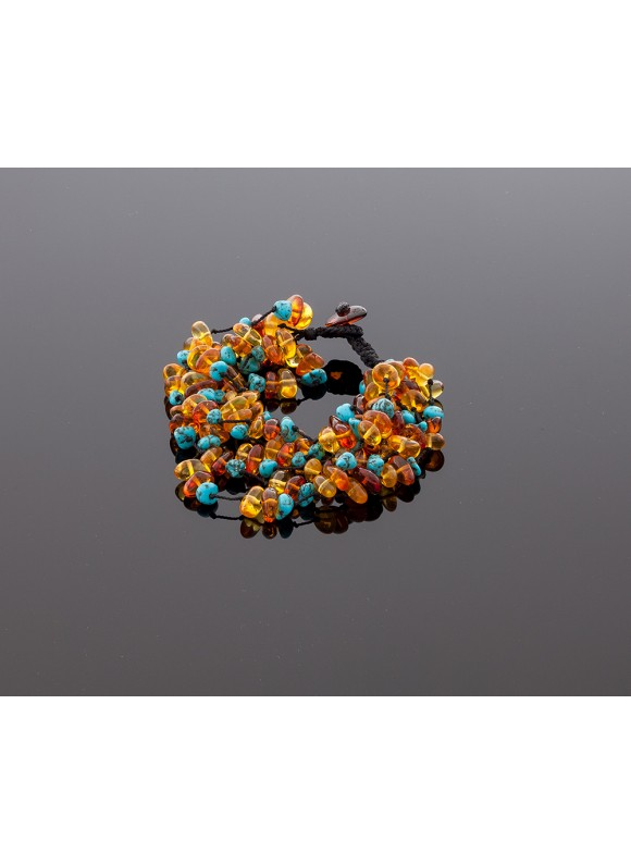 Luxurious amber bracelet with turquoise
