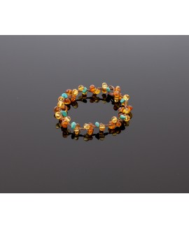 Faceted amber bracelet with turquoise