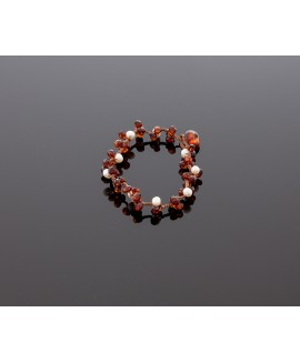 Faceted dark amber bracelet with pearls