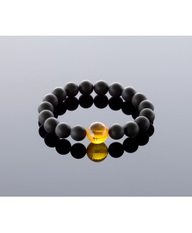 Round black/transparent amber bracelet, 10mm