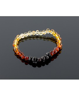 Adult amber bracelet - rainbow baroque beads
