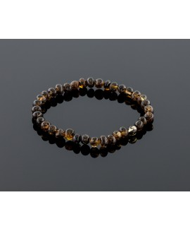 Adult amber bracelet - natural black baroque beads