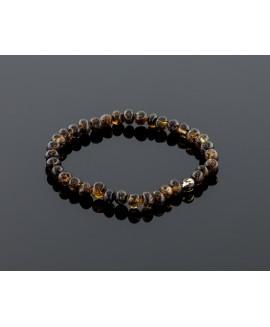Adult amber bracelet - natural black baroque beads