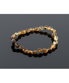 Adult amber bracelet - natural black olive beads
