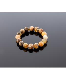 Round blackish brown amber bracelet, 12mm