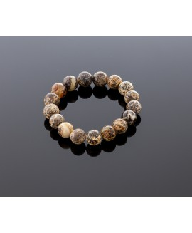 Stylish blackish grey amber bracelet, 12mm