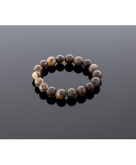 Blackish grey amber bracelet, 10mm