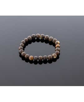 Blackish grey amber bracelet, 8mm