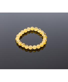 Natural yellow-lemon amber bracelet, 8mm