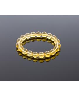 Round transparent amber bracelet, 10mm
