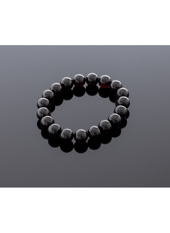 Cherry amber bracelet - Black lady, 10mm