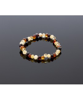 Adult amber bracelet - multicolored baroque beads