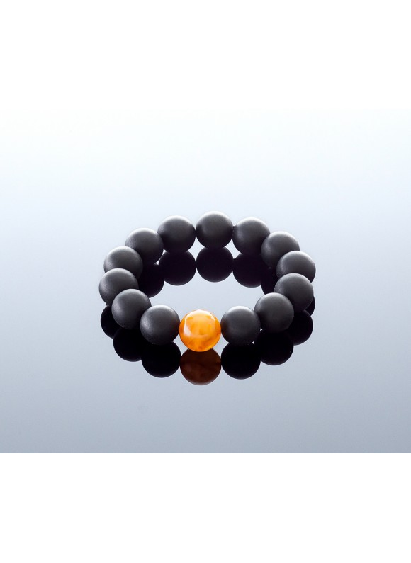 Round black amber bracelet, 15mm