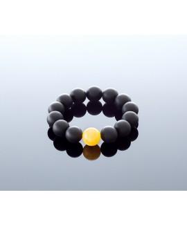 Round black amber bracelet, 14mm