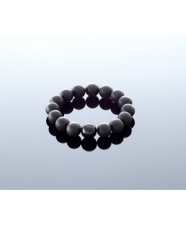 Round black amber bracelet, 12mm