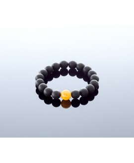 Unpolished black amber bracelet, 10mm