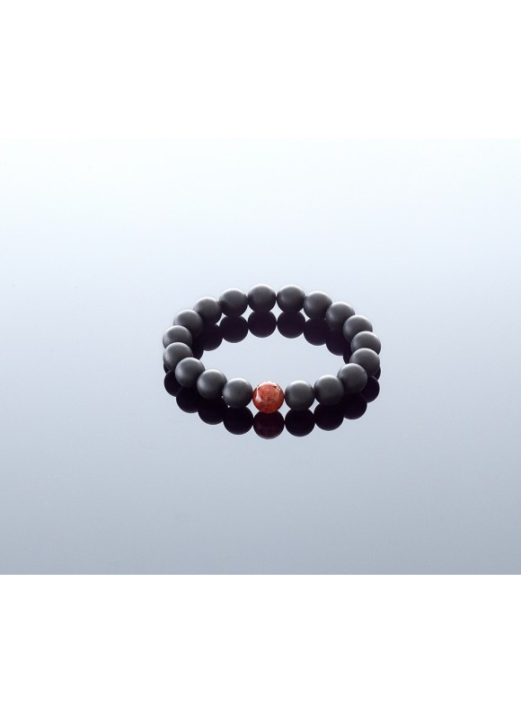 Round black amber bracelet, 9mm