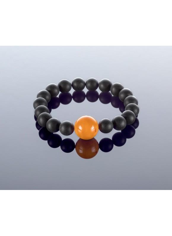 Round black amber bracelet, 10x16mm