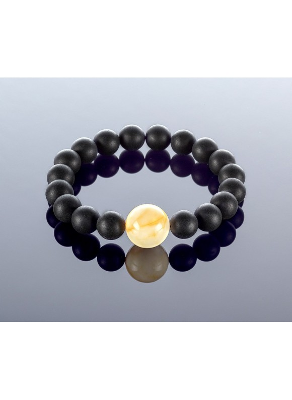 Round black/white amber bracelet, 10mm