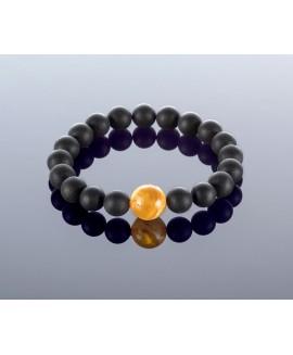 Round black amber bracelet, 9x12mm