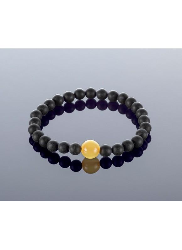Round black amber bracelet, 8x11mm