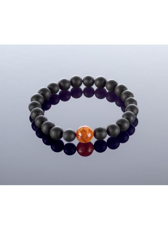 Round black amber bracelet, 8mm
