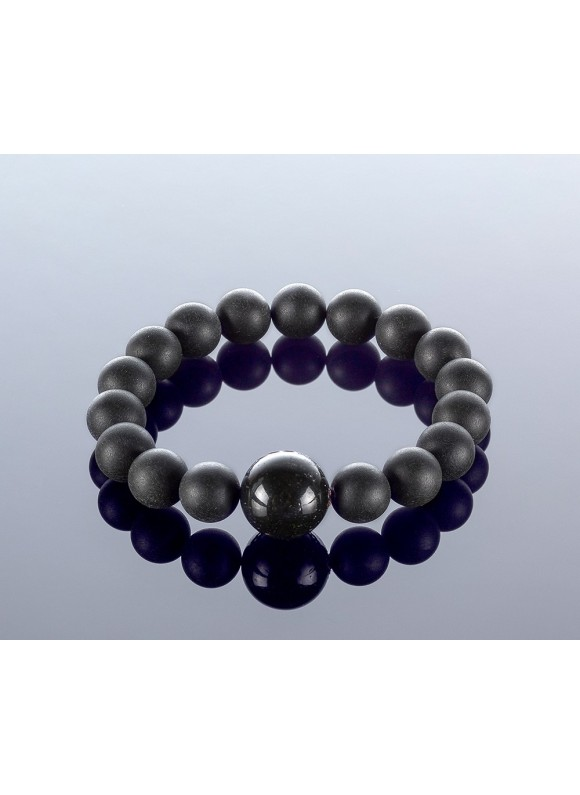 Round black amber bracelet, 10x15mm