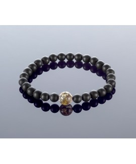 Round black/blue amber bracelet, 6mm