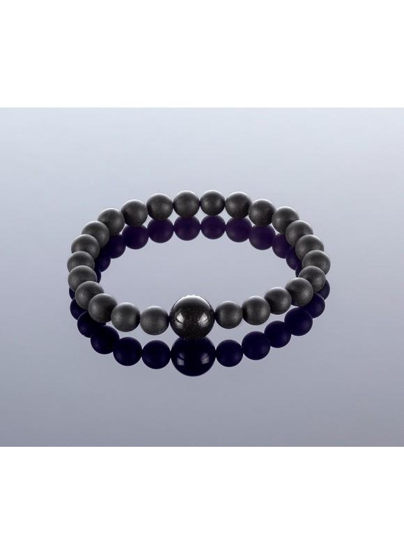 Round black amber bracelet, 7mm
