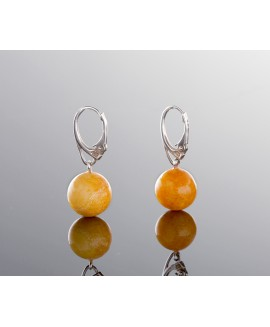 Natural amber earrings - Yellow sun