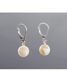 Baltic white amber earrings, 9mm