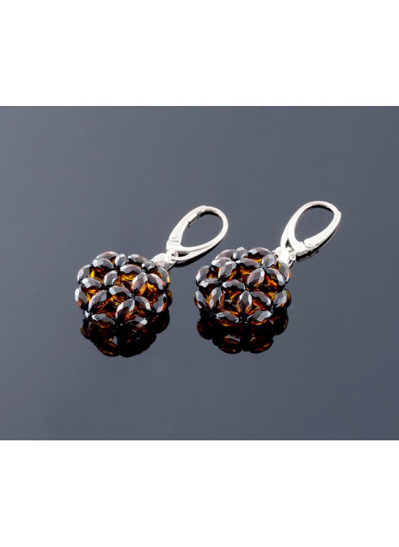 Shiny faceted amber earrings