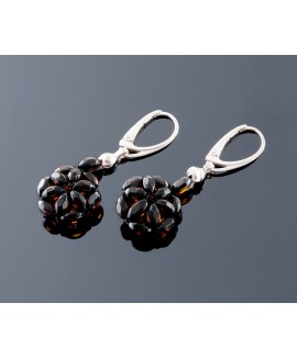 Faceted amber earrings - Flower