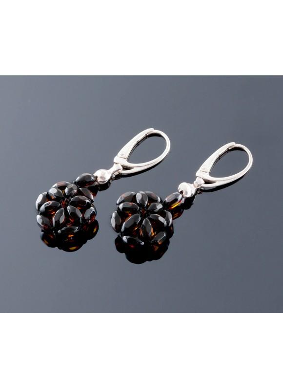 Faceted amber earrings - Flower