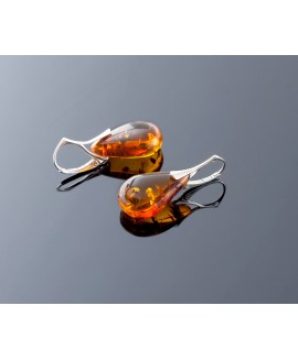 Classic style silver amber earrings