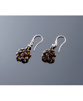 Faceted amber earrings - Subtle square