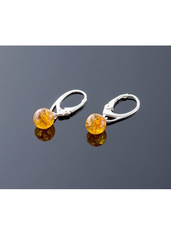 Honey amber earrings, 7mm
