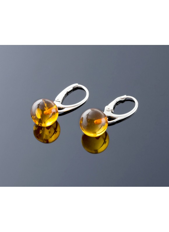 Pure Baltic amber earrings, 11mm
